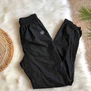 USA Black Street Style Swishy Zip Ankle Joggers S